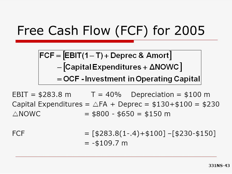 331NS-43 Free Cash Flow (FCF) for 2005 EBIT = $283.8 m T = 40% Depreciation = $100 m Capital Expenditures =  FA + Deprec = $130+$100 = $230  NOWC =