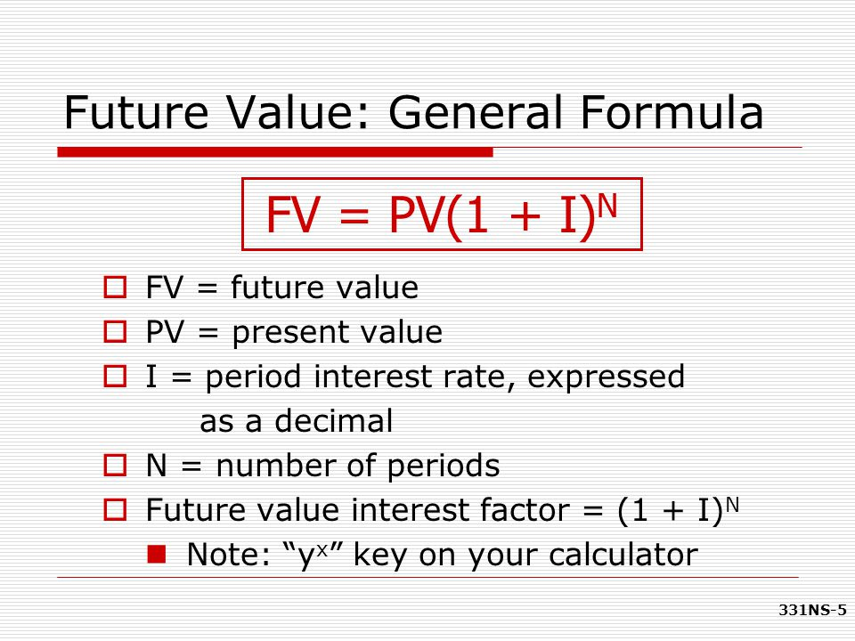 331NS-5 FV = PV(1 + I) N Future Value: General Formula  FV = future value  PV = present value  I = period interest rate, expressed as a decimal  N