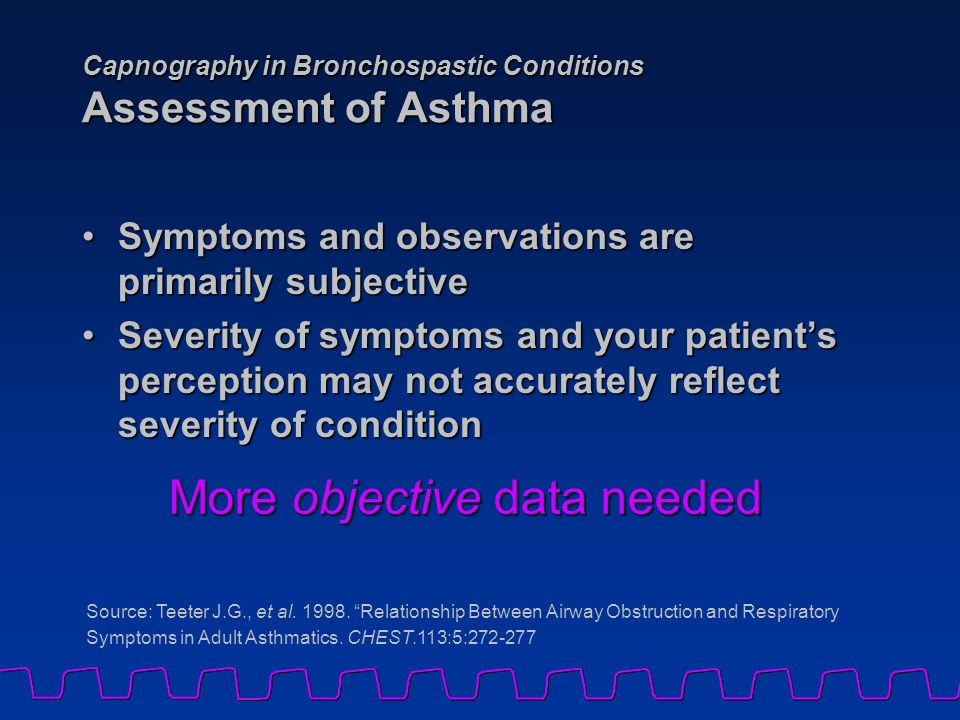 Capnography in Bronchospastic Conditions Assessment of Asthma Symptoms and observations are primarily subjectiveSymptoms and observations are primaril