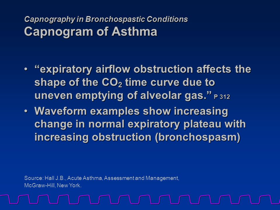 "Capnography in Bronchospastic Conditions Capnogram of Asthma ""expiratory airflow obstruction affects the shape of the CO 2 time curve due to uneven em"