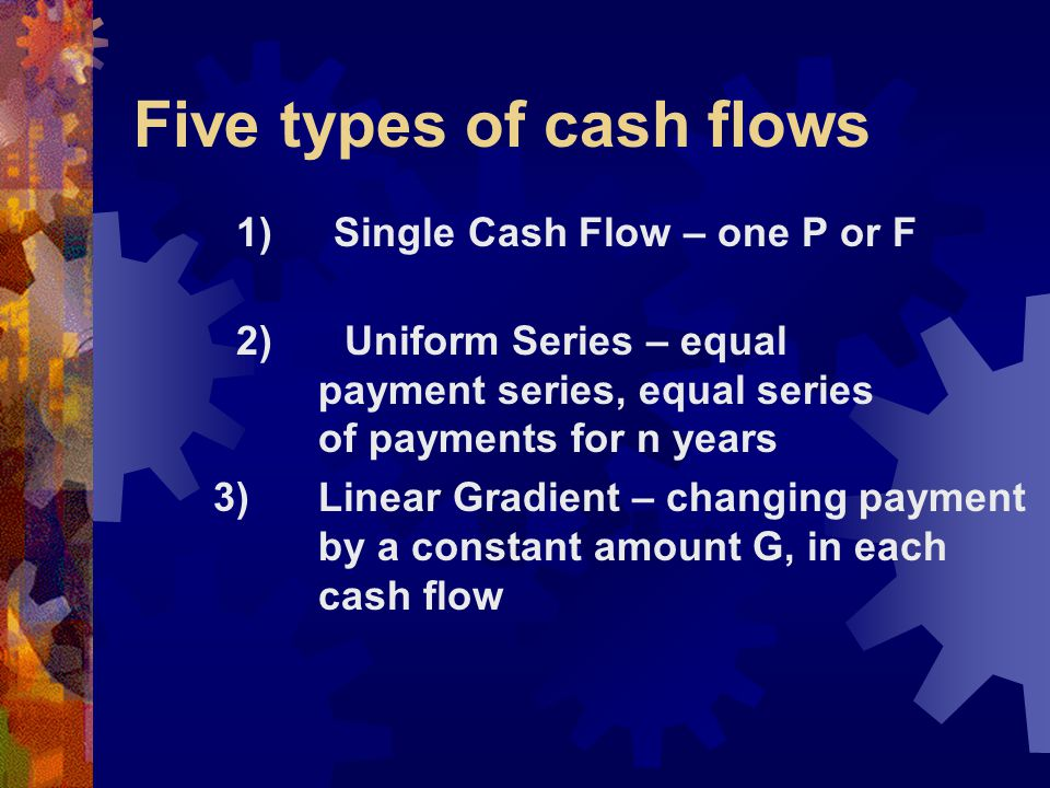 4) Geometric Gradient – changing payment by a constant percentage, g, in each cash flow 5) Irregular Series – no overall regular pattern in payment scheme
