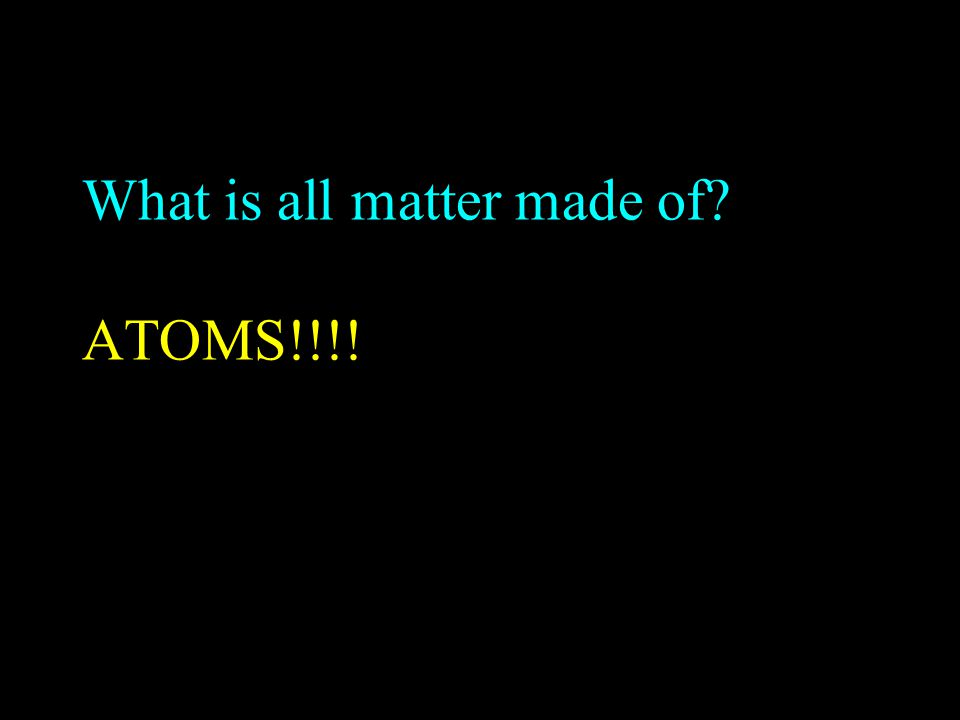 What is all matter made of ATOMS!!!!