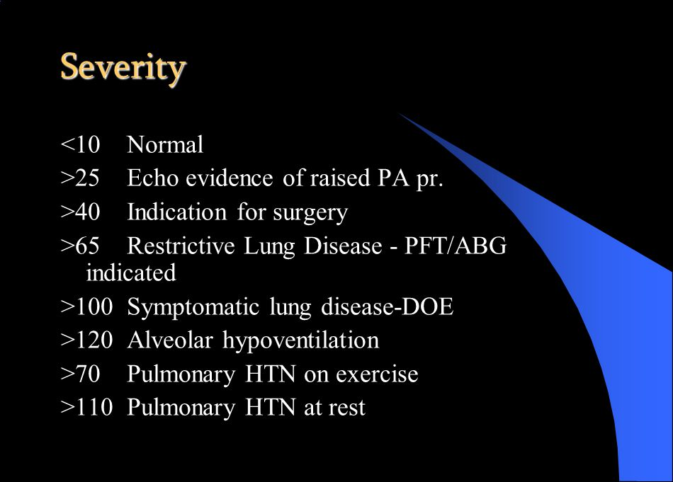 Severity <10Normal >25Echo evidence of raised PA pr.