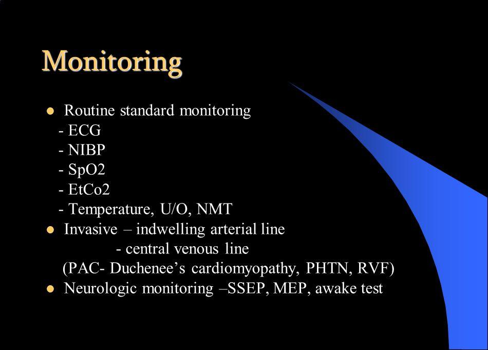 Monitoring Routine standard monitoring - ECG - NIBP - SpO2 - EtCo2 - Temperature, U/O, NMT Invasive – indwelling arterial line - central venous line (PAC- Duchenee's cardiomyopathy, PHTN, RVF) Neurologic monitoring –SSEP, MEP, awake test