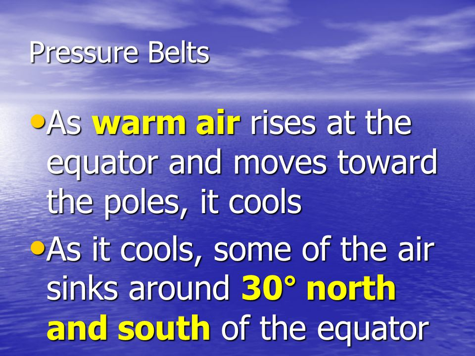 Pressure Belts As warm air rises at the equator and moves toward the poles, it cools As warm air rises at the equator and moves toward the poles, it cools As it cools, some of the air sinks around 30° north and south of the equator As it cools, some of the air sinks around 30° north and south of the equator