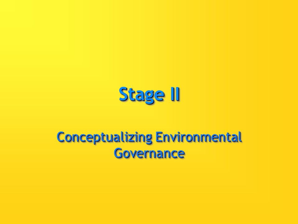 Stage II Conceptualizing Environmental Governance