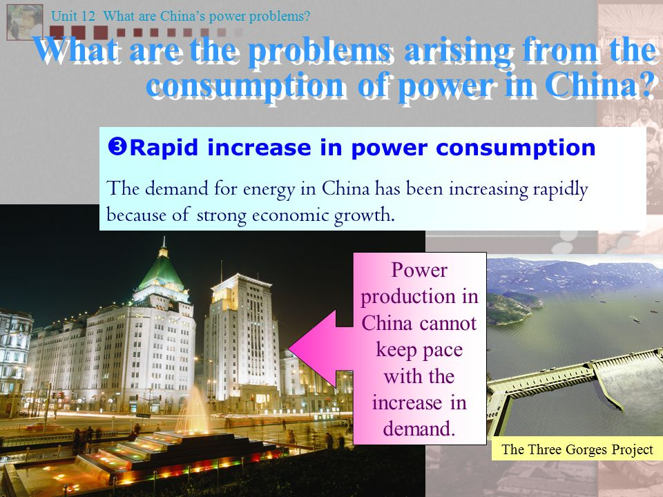 What are the problems arising from the consumption of power in China.