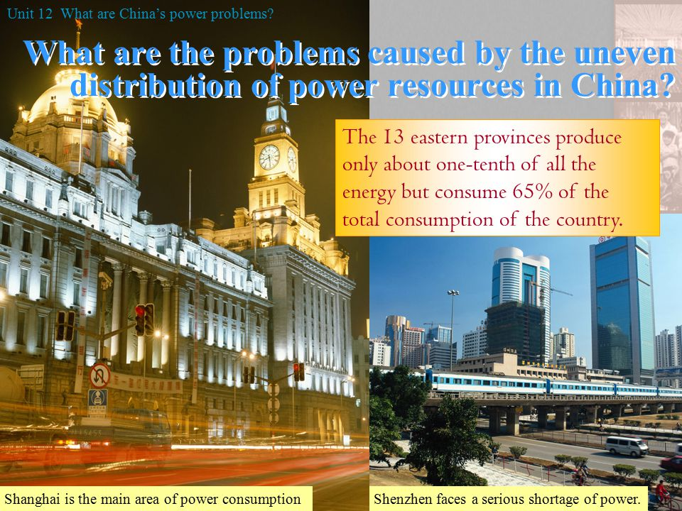 Distribution of power resources in China 70% of country's H.E.P.