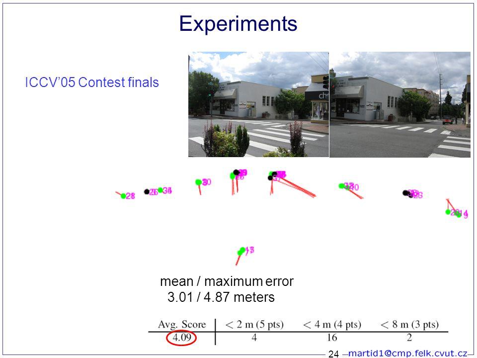 24 Experiments ICCV'05 Contest finals mean / maximum error 3.01 / 4.87 meters
