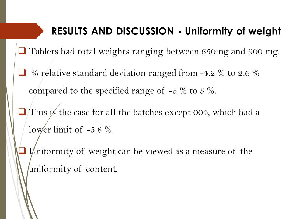RESULTS AND DISCUSSION - Uniformity of weight  Tablets had total weights ranging between 650mg and 900 mg.  % relative standard deviation ranged fro