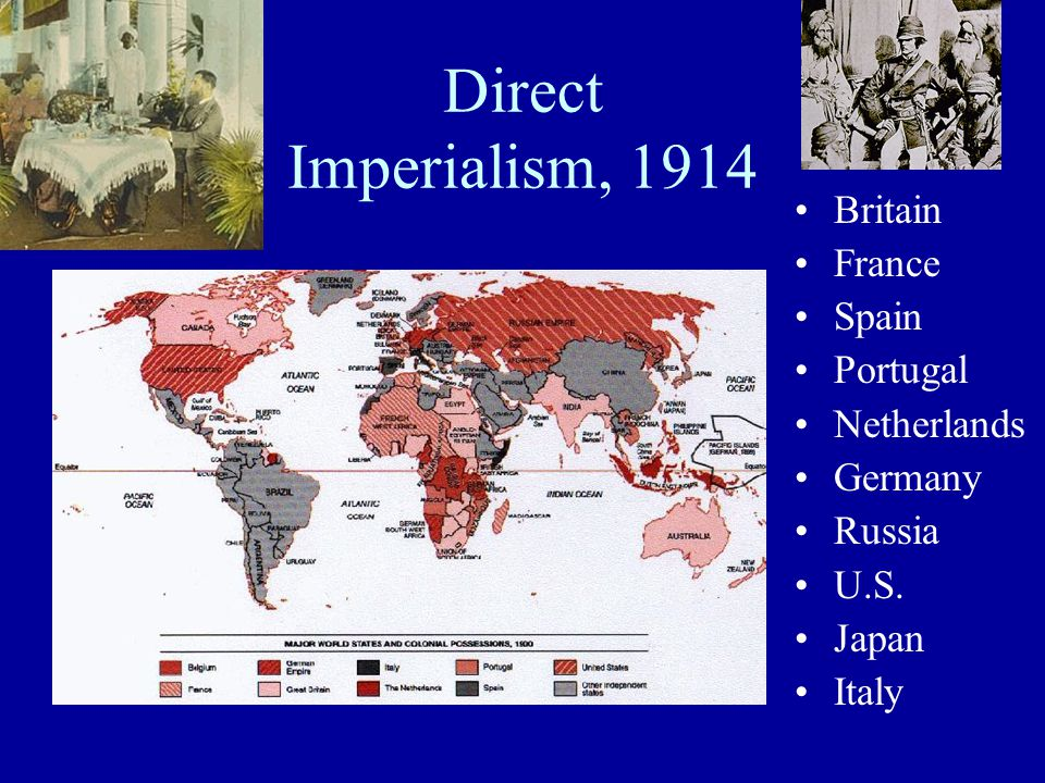 Direct Imperialism, 1914 Britain France Spain Portugal Netherlands Germany Russia U.S. Japan Italy