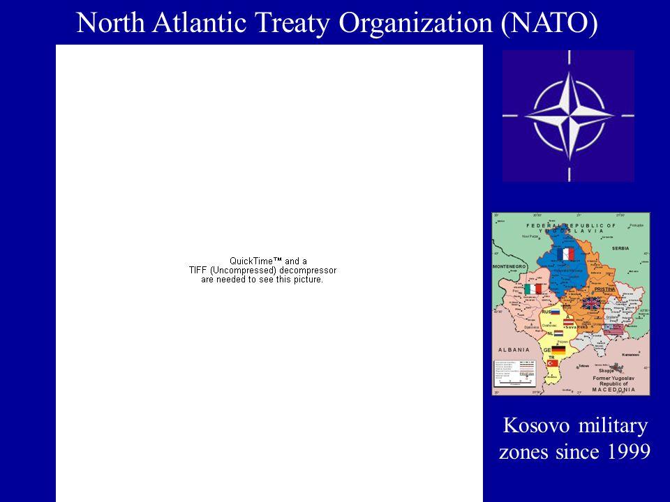 North Atlantic Treaty Organization (NATO) Kosovo military zones since 1999