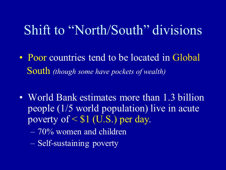 Shift to North/South divisions Poor countries tend to be located in Global South (though some have pockets of wealth) World Bank estimates more than 1.3 billion people (1/5 world population) live in acute poverty of < $1 (U.S.) per day.