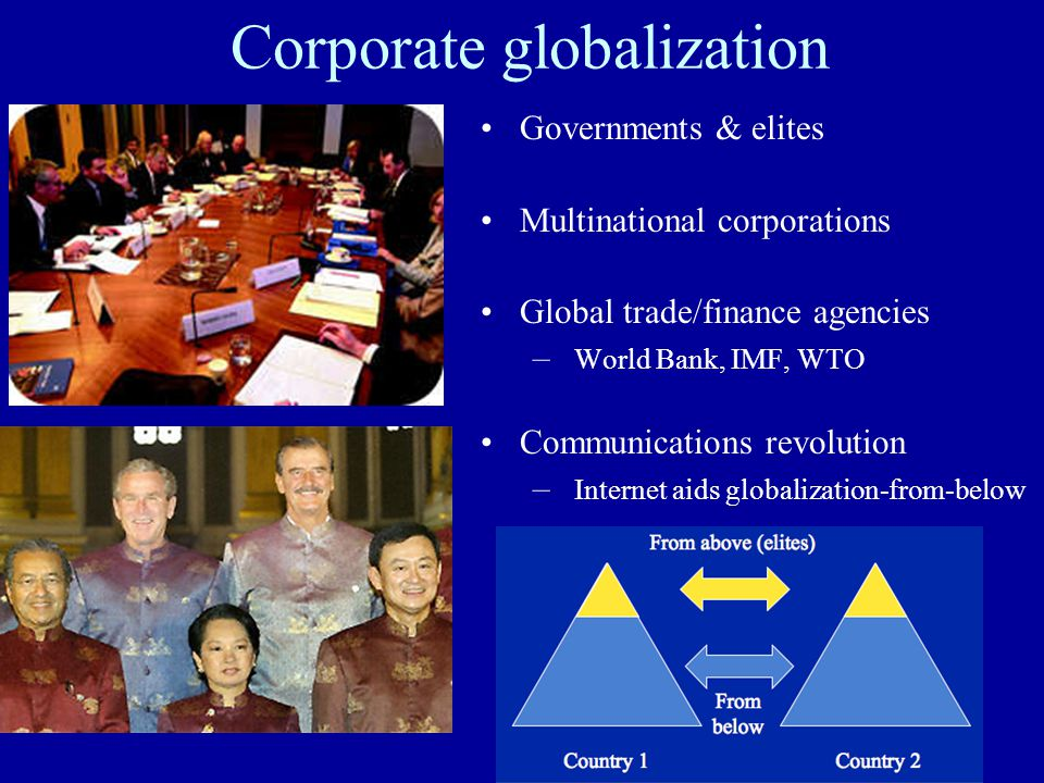 Corporate globalization Governments & elites Multinational corporations Global trade/finance agencies – World Bank, IMF, WTO Communications revolution – Internet aids globalization-from-below