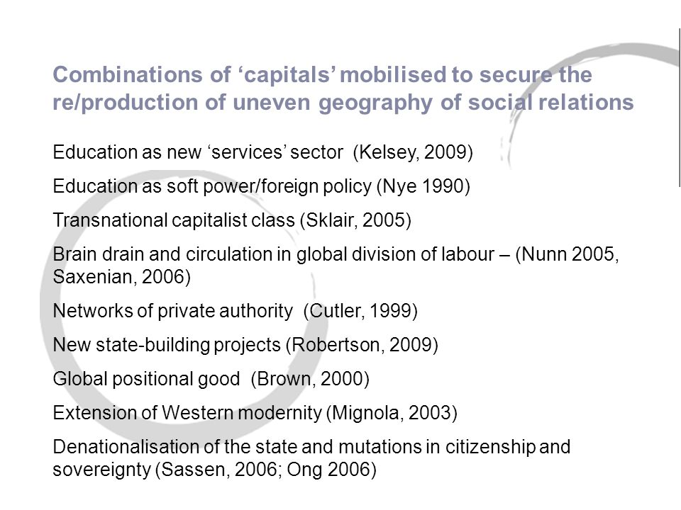 Education as new 'services' sector (Kelsey, 2009) Education as soft power/foreign policy (Nye 1990) Transnational capitalist class (Sklair, 2005) Brain drain and circulation in global division of labour – (Nunn 2005, Saxenian, 2006) Networks of private authority (Cutler, 1999) New state-building projects (Robertson, 2009) Global positional good (Brown, 2000) Extension of Western modernity (Mignola, 2003) Denationalisation of the state and mutations in citizenship and sovereignty (Sassen, 2006; Ong 2006) Combinations of 'capitals' mobilised to secure the re/production of uneven geography of social relations