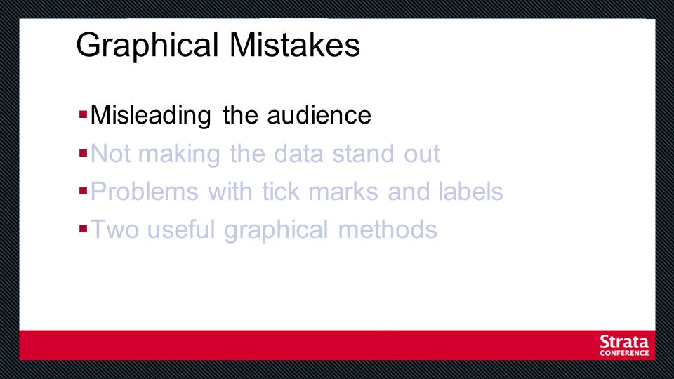 Avoid misleading the audience Equally spaced tick marks for unequal intervals Bar graphs with no zero Comparisons with different scales Figures not to scale