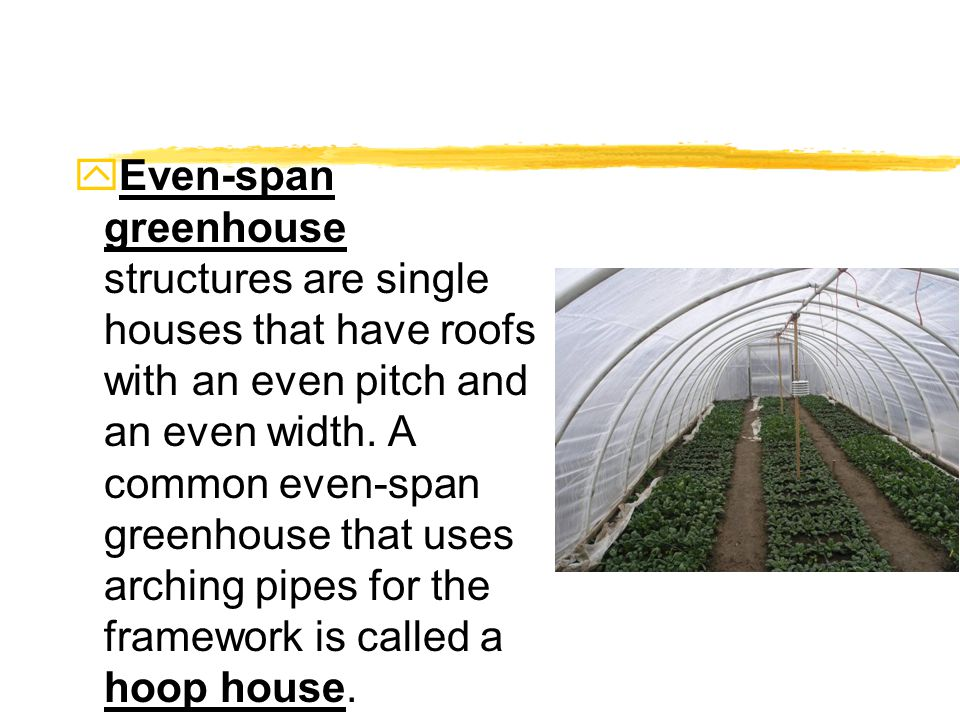 yEven-span greenhouse structures are single houses that have roofs with an even pitch and an even width.