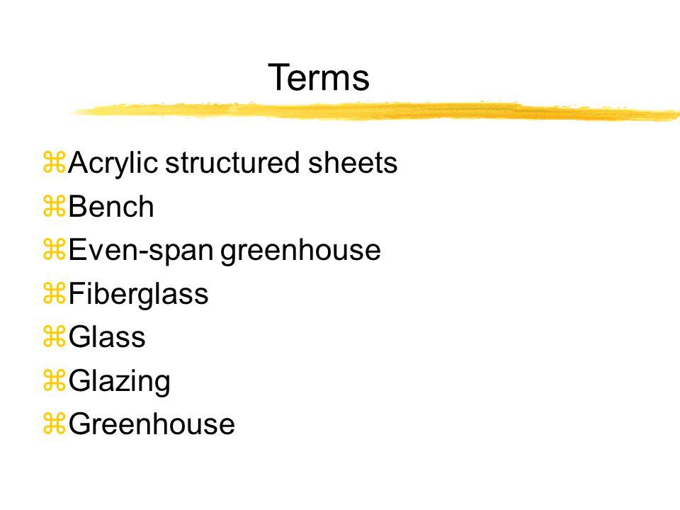 Terms zAcrylic structured sheets zBench zEven-span greenhouse zFiberglass zGlass zGlazing zGreenhouse