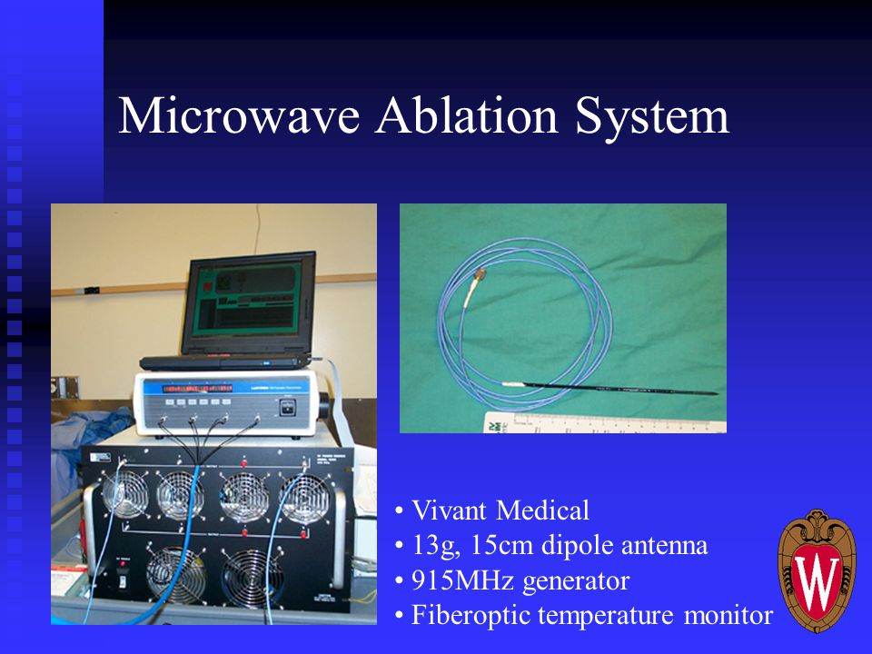 Microwave Ablation System Vivant Medical 13g, 15cm dipole antenna 915MHz generator Fiberoptic temperature monitor