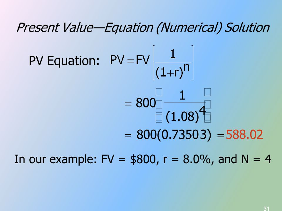 31 Present Value—Equation (Numerical) Solution 588.02  3) 800(0.7350  4 (1.08) 1 800          PV Equation: In our example: FV = $800, r = 8
