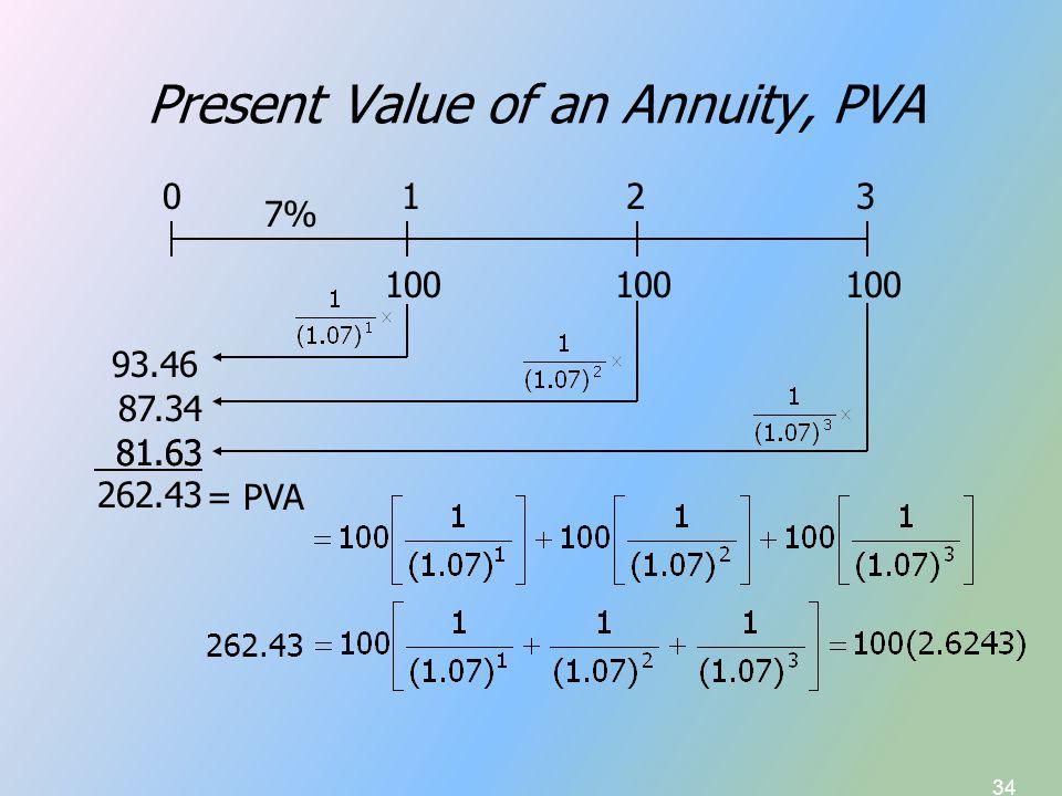 34 Present Value of an Annuity, PVA 100 7% 100 0123 93.46 87.34 81.63 262.43 = PVA 262.43