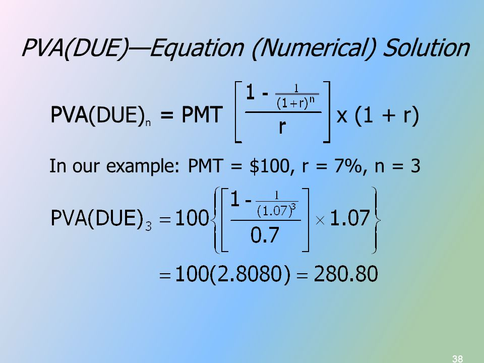 38 PVA(DUE)—Equation (Numerical) Solution In our example: PMT = $100, r = 7%, n = 3 PVA = PMT PVA(DUE) n = PMT x (1 + r)