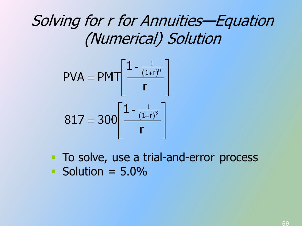 59 Solving for r for Annuities—Equation (Numerical) Solution  To solve, use a trial-and-error process  Solution = 5.0%