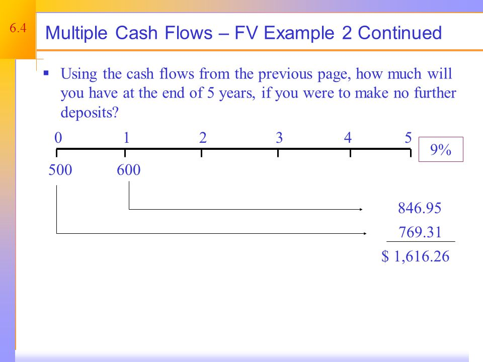 6.4 Multiple Cash Flows – FV Example 2 Continued  Using the cash flows from the previous page, how much will you have at the end of 5 years, if you were to make no further deposits.