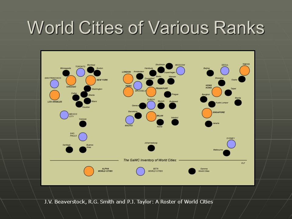 World Cities of Various Ranks J.V. Beaverstock, R.G.