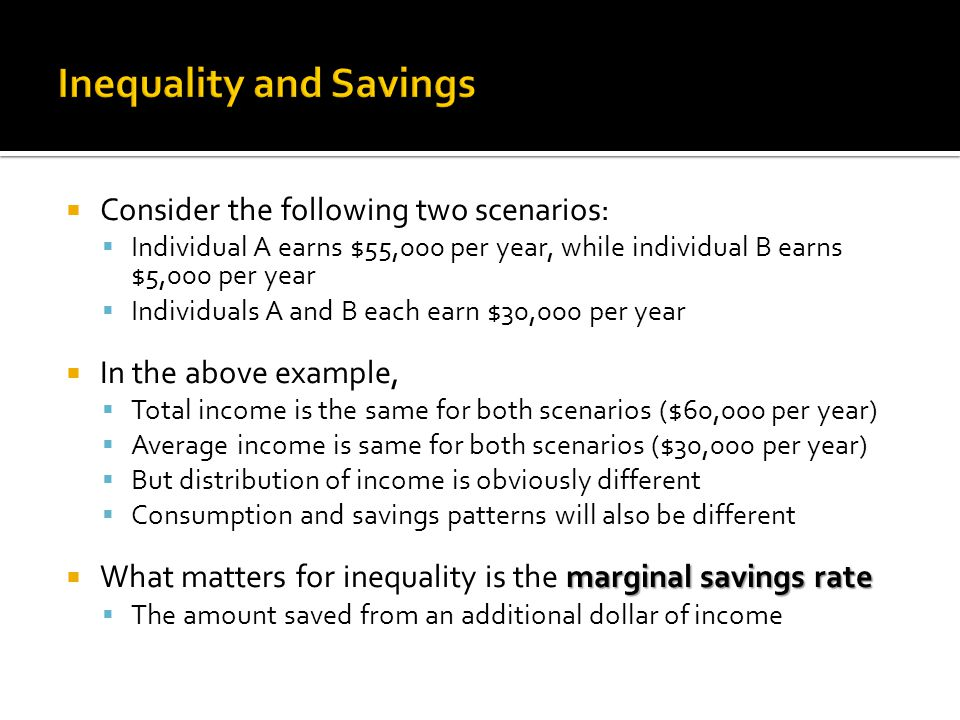  Consider the following two scenarios:  Individual A earns $55,000 per year, while individual B earns $5,000 per year  Individuals A and B each earn $30,000 per year  In the above example,  Total income is the same for both scenarios ($60,000 per year)  Average income is same for both scenarios ($30,000 per year)  But distribution of income is obviously different  Consumption and savings patterns will also be different marginal savings rate  What matters for inequality is the marginal savings rate  The amount saved from an additional dollar of income