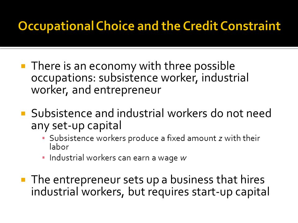  There is an economy with three possible occupations: subsistence worker, industrial worker, and entrepreneur  Subsistence and industrial workers do