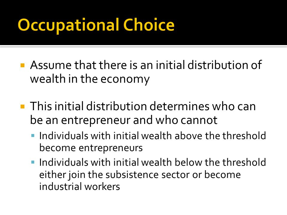  Assume that there is an initial distribution of wealth in the economy  This initial distribution determines who can be an entrepreneur and who cannot  Individuals with initial wealth above the threshold become entrepreneurs  Individuals with initial wealth below the threshold either join the subsistence sector or become industrial workers