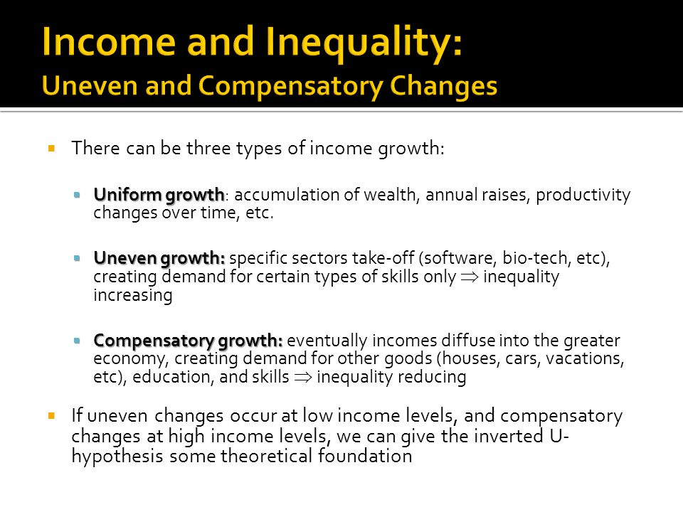  On problem with empirical exercises between inequality and growth is that of causality  Both are determined endogenously in the development process  One way to deal with this:  Use data on some initial measure of inequality and subsequent years of growth  What is a good measure of initial inequality: wealth, income, or land?