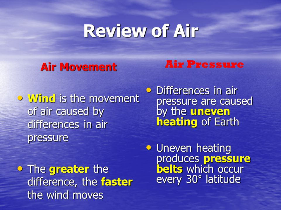 Review of Air Air Movement Wind is the movement of air caused by differences in air pressure Wind is the movement of air caused by differences in air