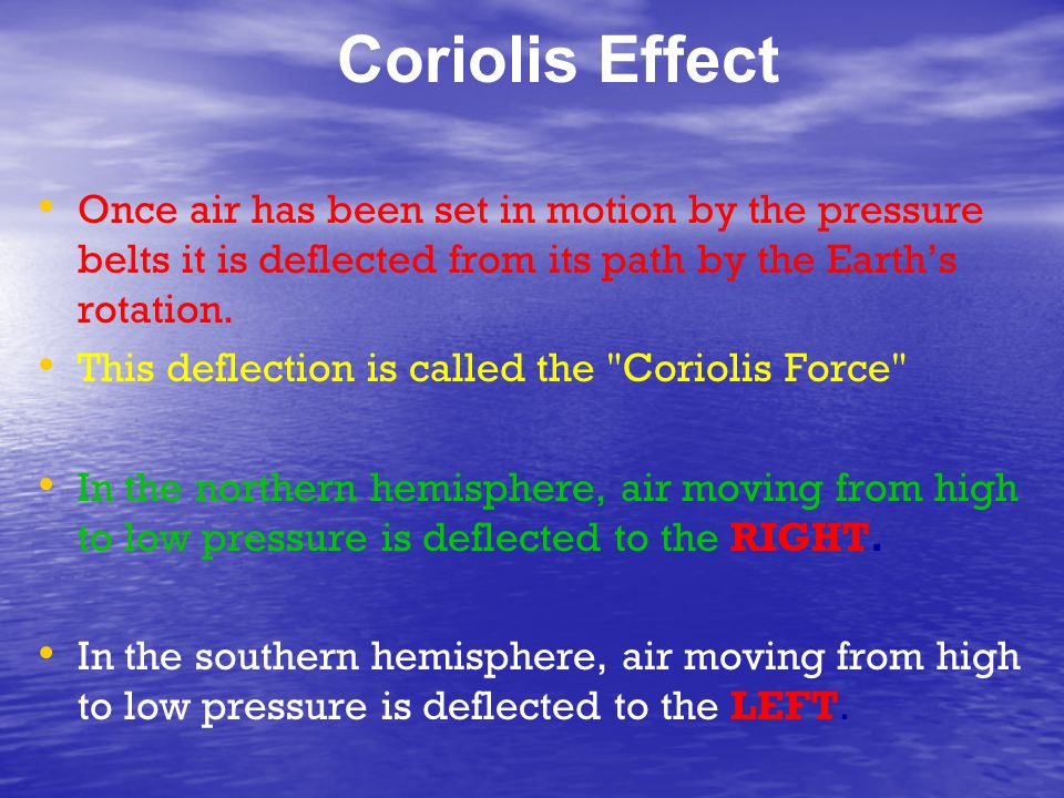 Coriolis Effect Once air has been set in motion by the pressure belts it is deflected from its path by the Earth's rotation. This deflection is called