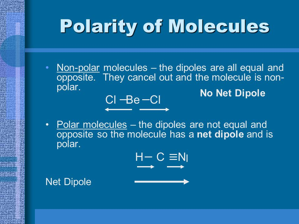 Polar Molecules are molecules which have an uneven distribution of charge.