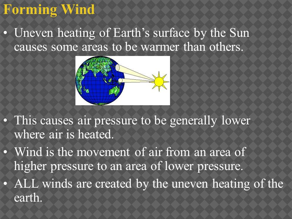 Heated Air Areas of Earth receive different amounts of radiation from the Sun because Earth is curved.