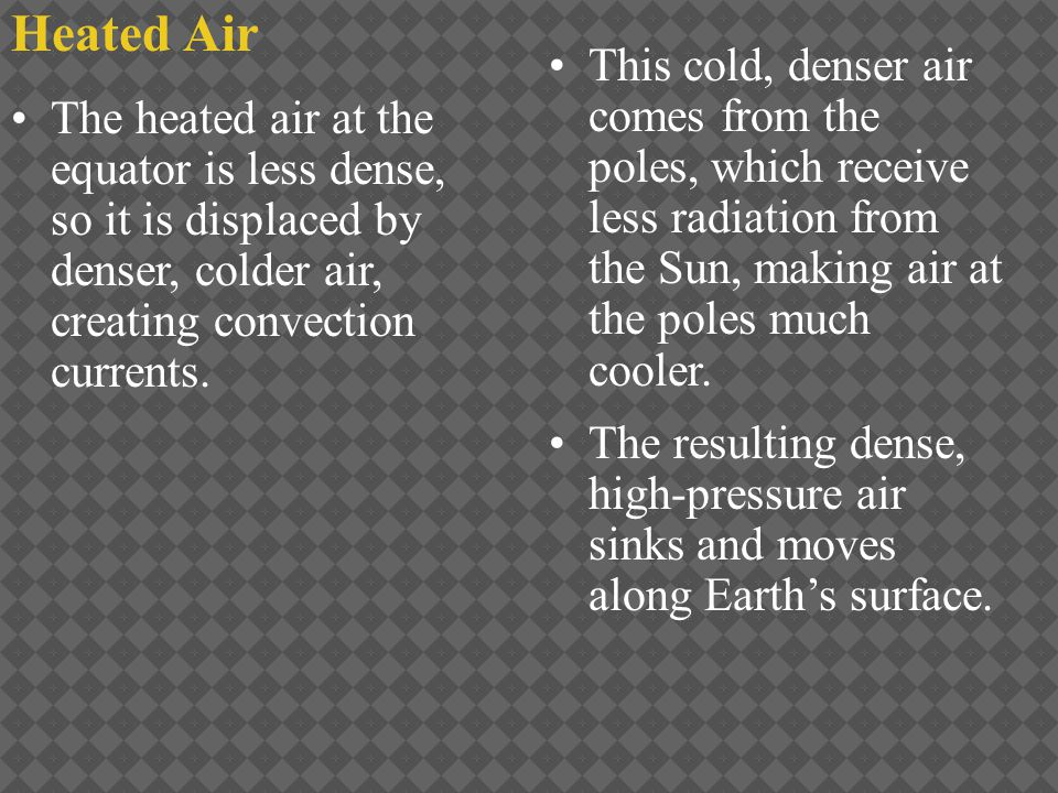 Heated Air This cold, denser air comes from the poles, which receive less radiation from the Sun, making air at the poles much cooler. The resulting d