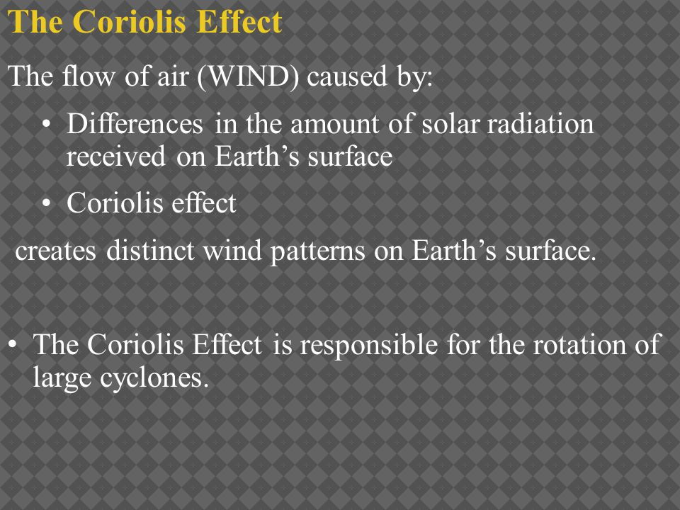 The flow of air (WIND) caused by: Differences in the amount of solar radiation received on Earth's surface Coriolis effect creates distinct wind patte