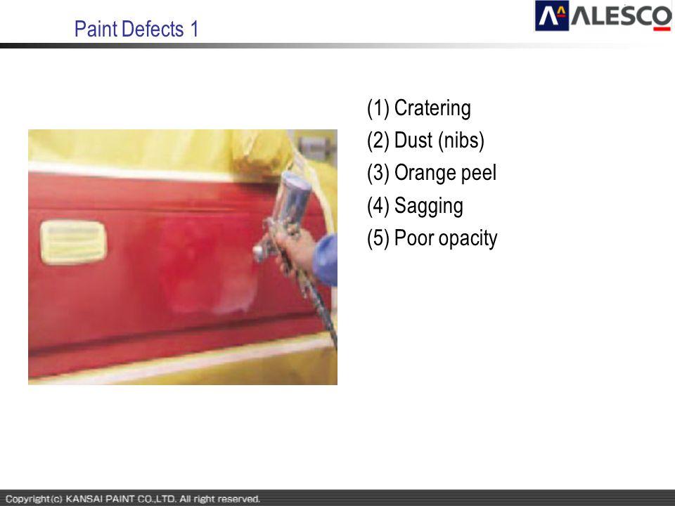 Paint Defects 1 (1) Cratering (2) Dust (nibs) (3) Orange peel (4) Sagging (5) Poor opacity