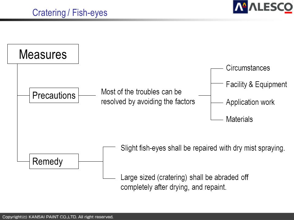 Cratering / Fish-eyes Measures Precautions Remedy Most of the troubles can be resolved by avoiding the factors Slight fish-eyes shall be repaired with