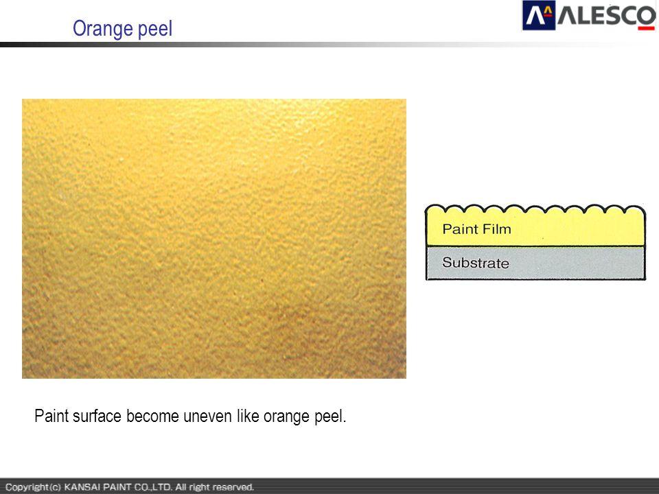 Orange peel Paint surface become uneven like orange peel.