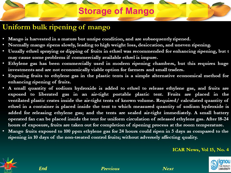 Next End Previous Storage of Mango Recommended storage conditions Optimum Temperature 13°C (55°F) for mature-green mangoes 10°C (50°F) for partially-ripe and ripe mangoes Optimum Relative Humidity 90-95%