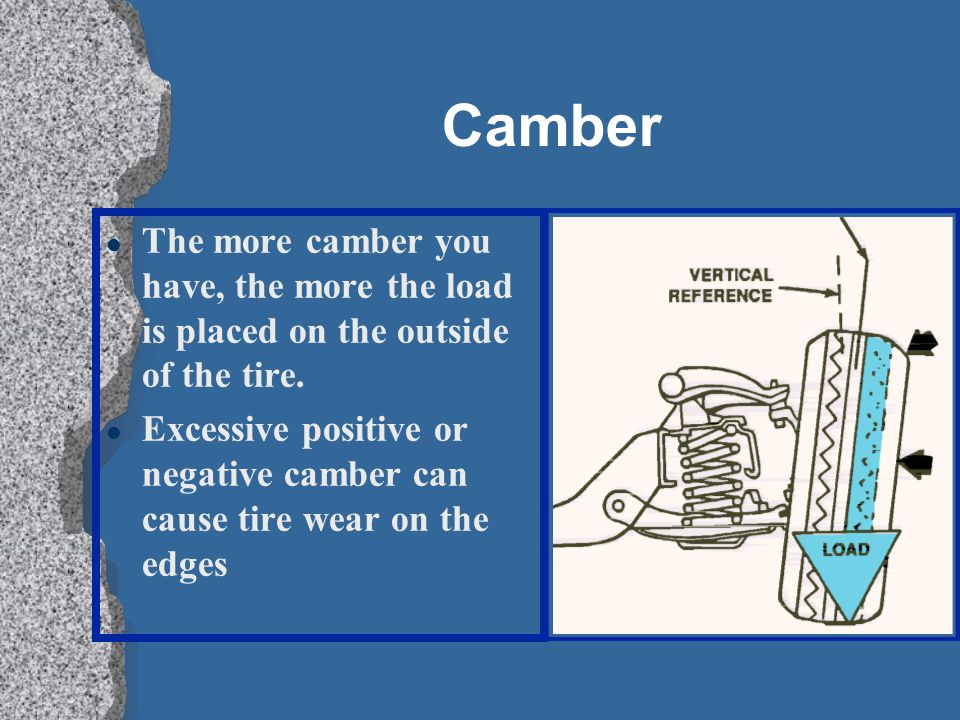 Camber l The more camber you have, the more the load is placed on the outside of the tire.