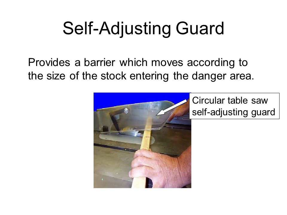 Adjustable Guard Provides a barrier which may be adjusted to facilitate a variety of production operations.