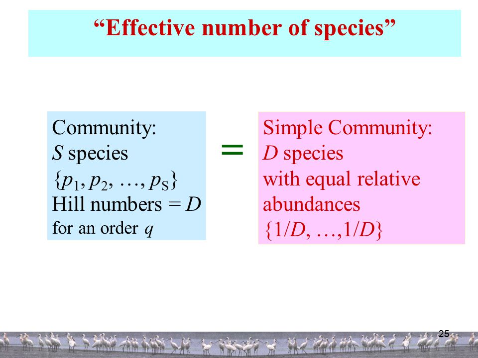 25 Effective number of species Community: S species {p 1, p 2, …, p S } Hill numbers = D for an order q Simple Community: D species with equal relative abundances {1/D, …,1/D} 