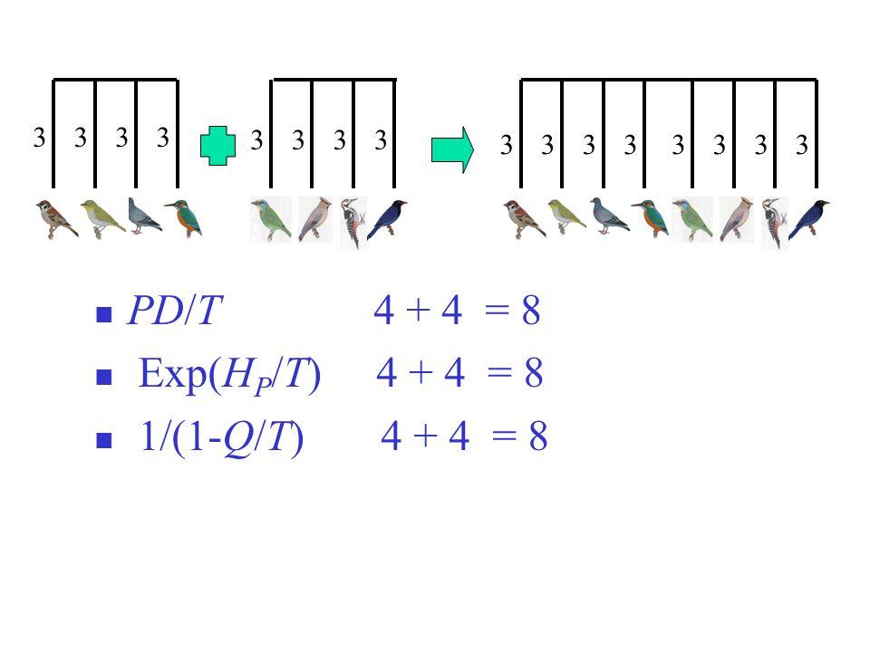 3333 3333 33333333 PD/T 4 + 4 = 8 Exp(H P /T) 4 + 4 = 8 1/(1-Q/T) 4 + 4 = 8