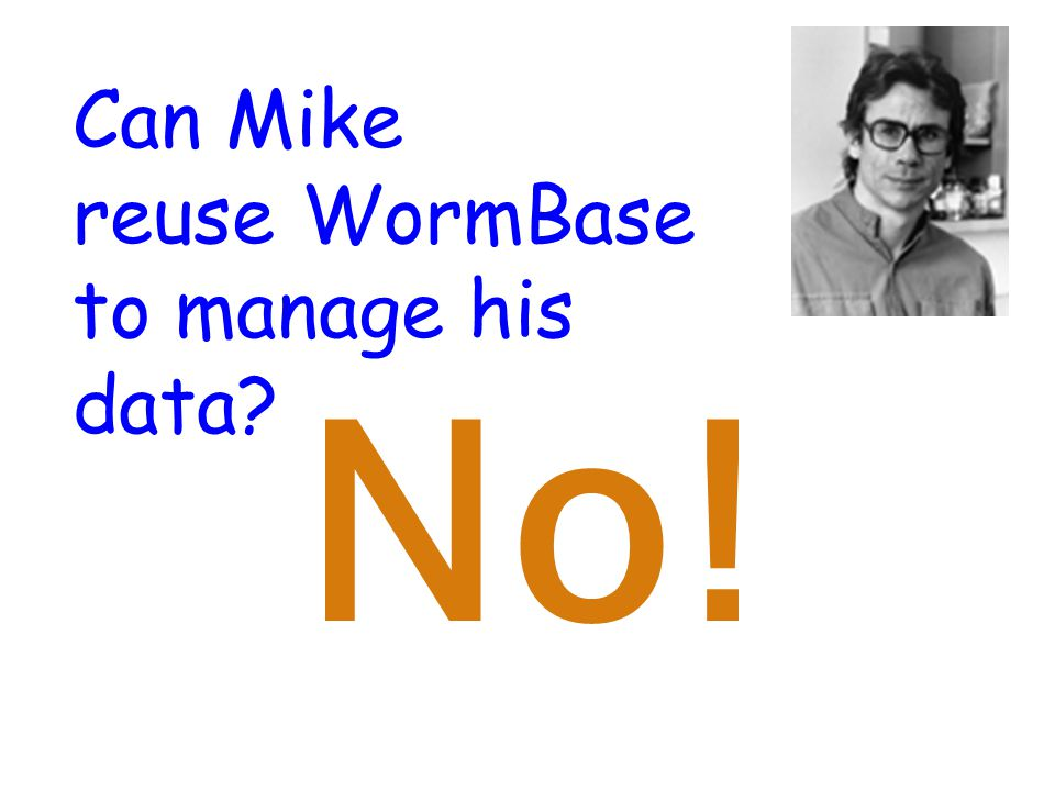 Can Mike reuse WormBase to manage his data No!