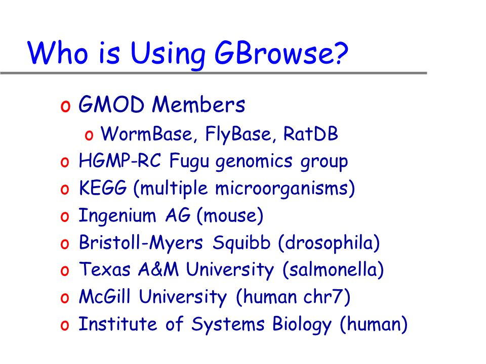 Who is Using GBrowse.