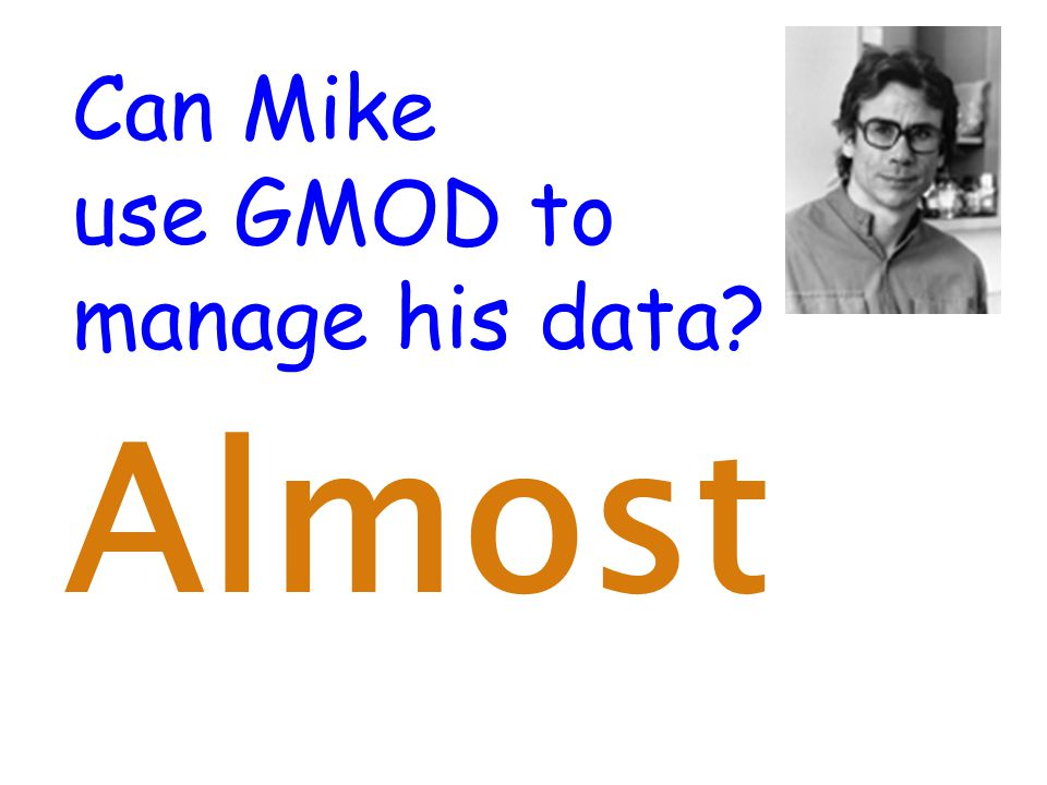 Can Mike use GMOD to manage his data Almost